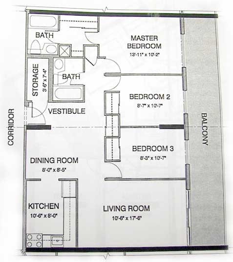 Condo apartment floor plan for Apartment floor plans with dimensions